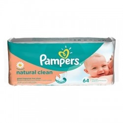 PAMPERS servetele Natural Clean 64 buc